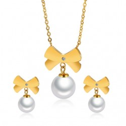 Bowknot & Pearl Fashion Jewellery Set