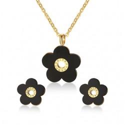 Retro Black Flower Jewelry Set