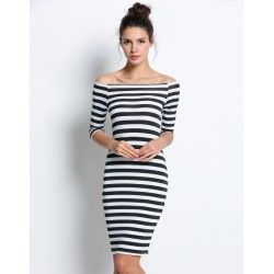 Off Shoulder Striped Fashion Slim Stretch Pencil Dress