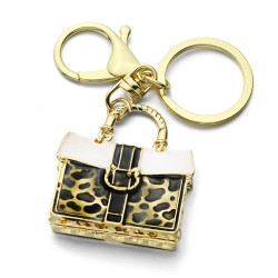 Crystal Leopard Handbag Keychain Keyring