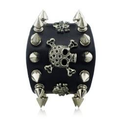 Spikes Rivet Gothic Skull Leather Bracelet Unisex