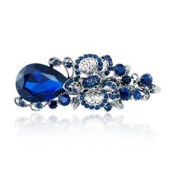 Pinza de Pelo con Flor de Cristal Azul