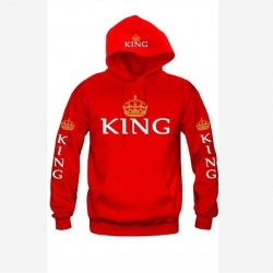 BKLD 2017 Autumn 3Colors King Queen Printed Hoodies Women Men Sweatshirt Lovers couples hoodie Hoode