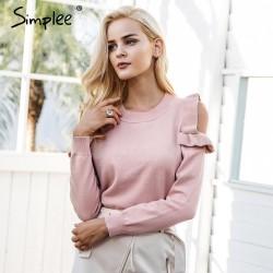Elegant Off Shoulder Knitted Sweater Jumper