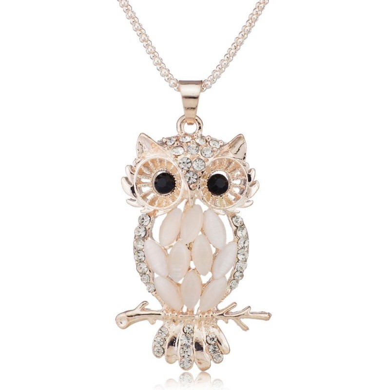 Stylish gallant sparkling owl crystal charming flossy necklaces pen sparkling crystal owl pendant necklace aloadofball