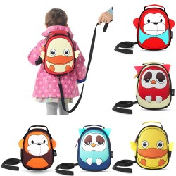 3D Animal Design Baby Kids Waterproof Backpack With Safe Harness
