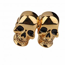 Gold Skeleton Skull Head Cufflinks