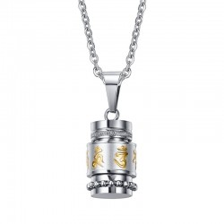 Rotatable Mantra Pendant Stainless Steel Necklace