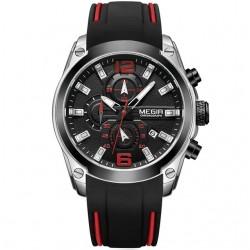 Silicone Rubber Strap Chronograph Analog Quartz Waterproof Watch