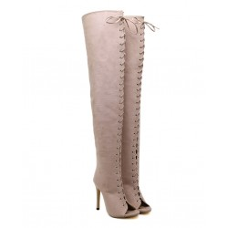 Lace Up Over The Knee High Heel Boots