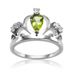925 Sterling Silver Natural Stone Crown Ring