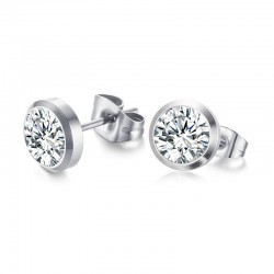 Classic simple stud crystal silver earrings