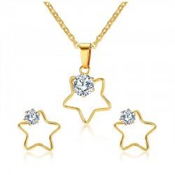 Five Stars Necklace & Earrings Jewellery Set