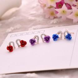 Heart & Rose Flower Crystal Stud Earrings