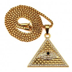 Crystal Egyptian Pyramid & Eye Pendant Necklace Unisex
