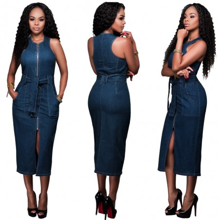 Jeans Zipper Slim Dress