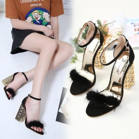Fur crystal transparent metal high heel sandals