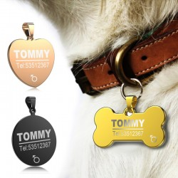 Dog & cat ID tag - anti-lost - stainless steel - engraved necklace
