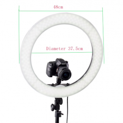 """RL-18"""" 55W 240 LED 5500K photography dimmable ring lamp with mirror tripod"""