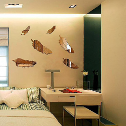 3D feathers mirror wall stickers wallpaper