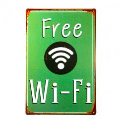 Poster vintage metallico Free WiFi