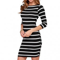 Black & white striped spandex dress