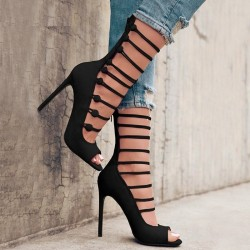 Strappy high heel sandals pumps