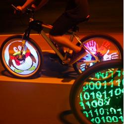 Luce LED programmabile per ruota bici