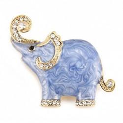 Enamel & crystals elephant brooch