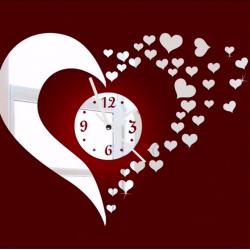 Adesivo da muro specchio cuore e orologio 3D