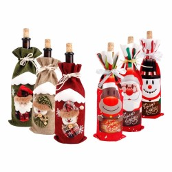 Christmas bottle wine cover cloth & linen