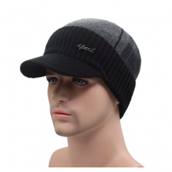 Men's winter wool hat with visor