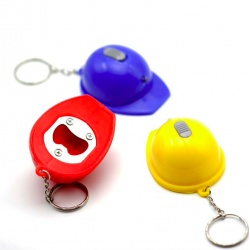 Helmet shape bottle opener keychain keyring with LED light