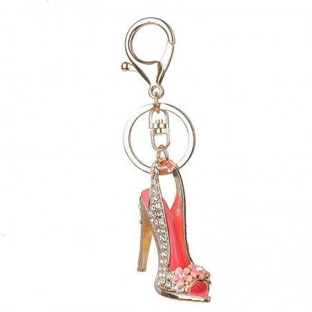Crystal high heel shoe keychain keyring