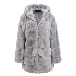 Elegante chaqueta larga con capucha y esponjosa - abrigo de piel - talla grande