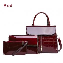 Elegante borsa in pelle lucida set di 3 pezzi