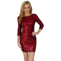 Long sleeve slim sequins mini dress