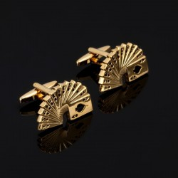 Poker cards golden cufflinks