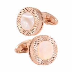 Rose gold & silver round cufflinks