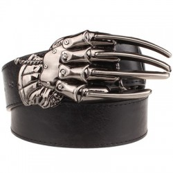 Leather belt with skull hand buckle