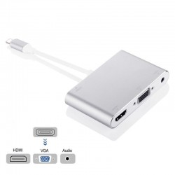 8 pin to HDMI VGA 3.5mm jack adapter HDTV OTG converter cable for iPhone - iPad