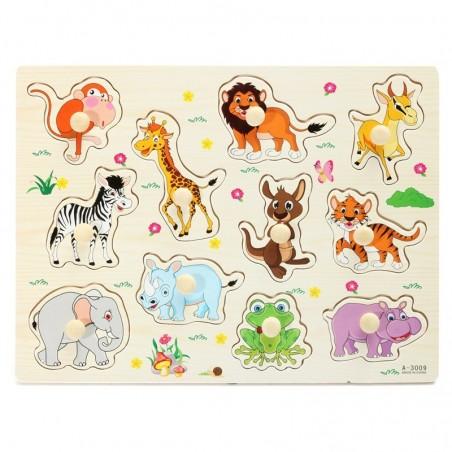 Cartoon animals - children's wooden puzzle toys
