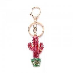 Crystal cactus keychain keyring