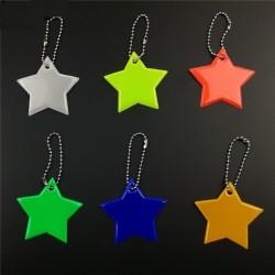 Reflective star keychain keyring