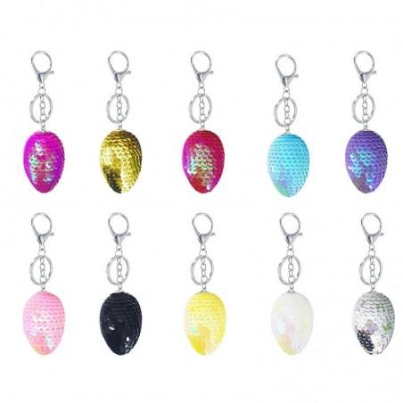Glitter sequins egg keychain keyring