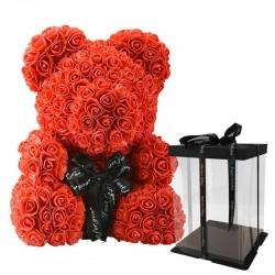 Orso rosa - orso fatto con rose infinito - 40 cm