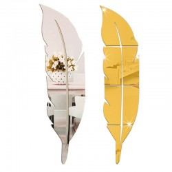 Acrylic feather-shaped mirror wall sticker