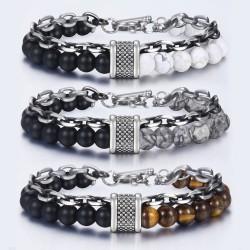 Natural stone beaded stainless steel bracelet