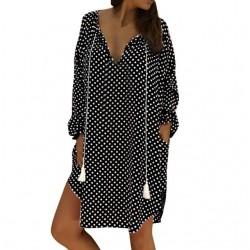 Mini polka dot dress with long sleeve