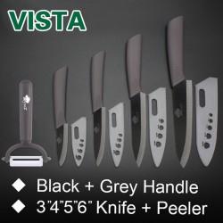 Ceramic knives set - peeler - holder